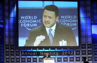 Photo: NEW YORK, 3FEB02 -H.M. King Abdullah Hussein of Jordan speaks to the audience during a special sessionof the 32nd Annual Meeting of the World Economic Forum at the Waldorf-Astoria hotel in New York on February 3, 2002. 