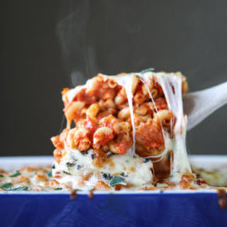 Cheesy Baked Macaroni with White Beans and Bacon.