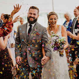 Confetti Wedding in The Orchard Limerick by Kaspars Sarovarcenko - Wedding Bride & Groom ( wedding photographer limeick )