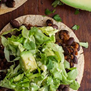 Black Bean Tostadas with Avocado Salad