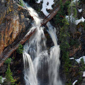 Yellowstone Grand Canyon by Chuck Vinson - Buildings & Architecture Bridges & Suspended Structures ( yellowstone, mountain, snow, waterfall, bridge, , wood, closeup, quality, detail, new, fresh, win, 2013, 2014 )
