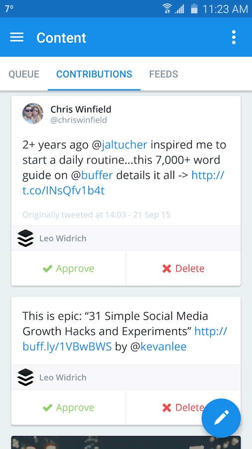 Buffer: Social Media, Twitter- screenshot