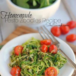 Homemade Pesto Zoodles.