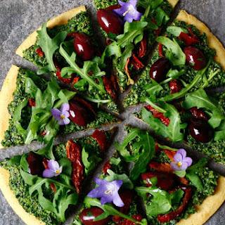 Socca Pizza with Hemp and Pumpkin Seed Kale Pesto (gluten-free & vegan).