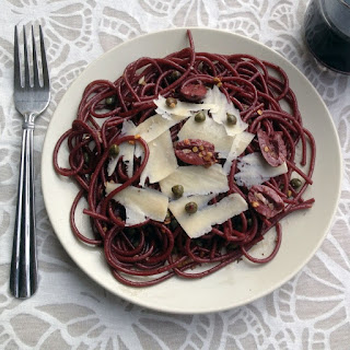 Drunken Spaghetti with Olives, Capers & Shaved Parmesan