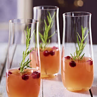 Sparkling Peach and Cranberry Cocktail.