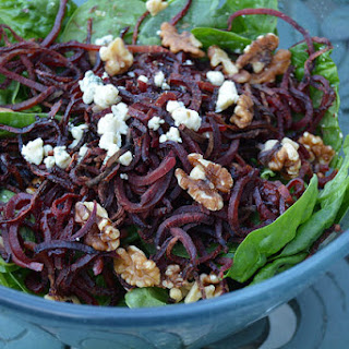 Roasted Sprialized Beet, Pecan and Gorgonzola Salad.