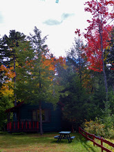 Photo: Fall in the Adirondacks, enjoy the privacy of the Guide's Cabin with jacuzzi and fireplace, the large picture window faces the lake.