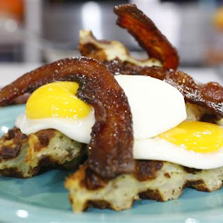 Hash Brown Waffle with Fried Egg and Candied Bacon Recipe