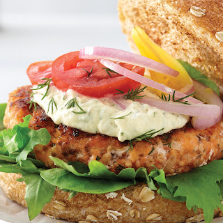 Smoked Salmon Burger with Lemon Aioli.