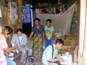 Photo: Boy Suchat with his family in Baan Huai Jakan and healthcare volunteers.