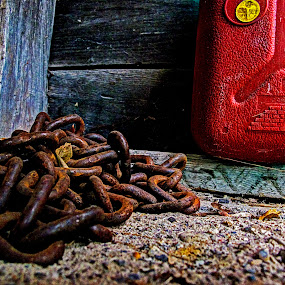 Garage Floor by JoAnn Palmer - Artistic Objects Other Objects ( gas gan, red, can, rusty chain, chain, garage, art, rust )
