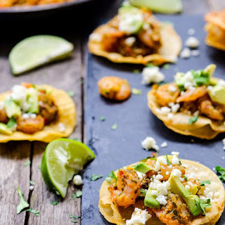 Chimichurri Shrimp and Avocado Mini Tostadas