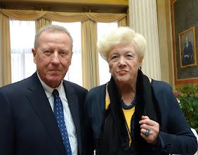 Photo: Verdienstkreuz für Inge M. SCHERER - Verleihung durch Präsident Barbara Prammer am 29.1.2014. Das Ehepaar Dr. Sabaditsch.  Foto: Peter Skorepa