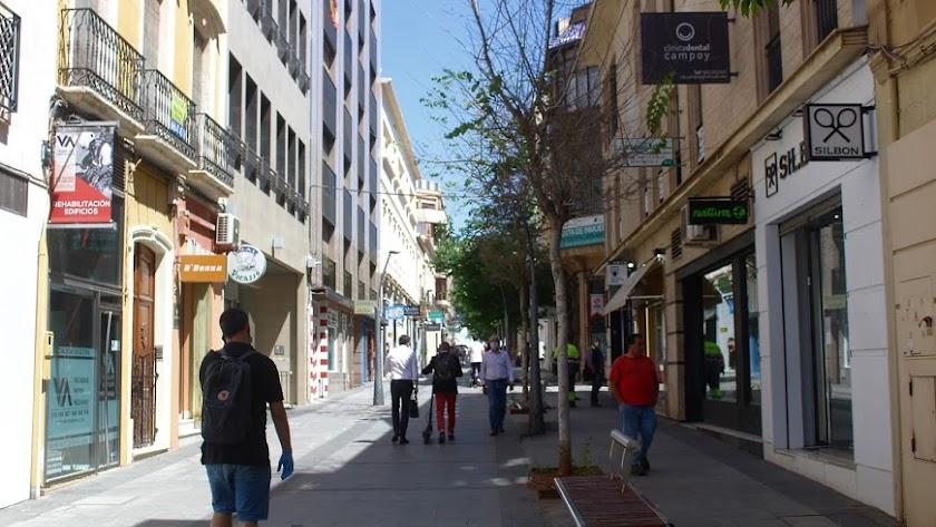 Vista de la calle Reyes Católicos de Almería durante la Fase 2.