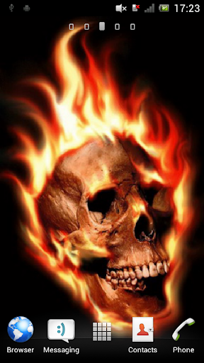 Skull in flames Live Wallpaper