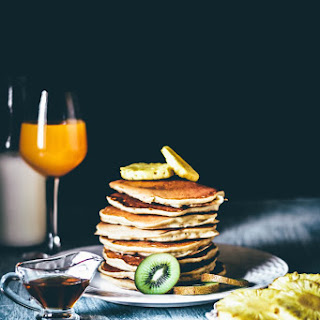 Lemon and Cottage Cheese Pancakes with Grilled Pineapples, Kiwi and Honey