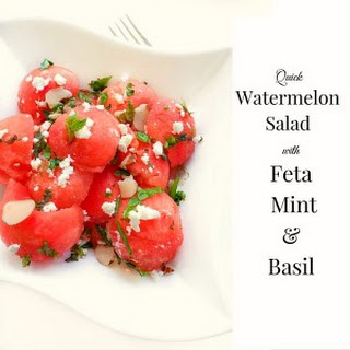 Quick Watermelon Salad with Feta Mint and Basil.
