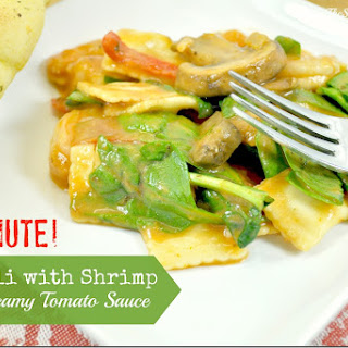 15-Minute Ravioli with Shrimp in a Creamy Tomato Sauce.