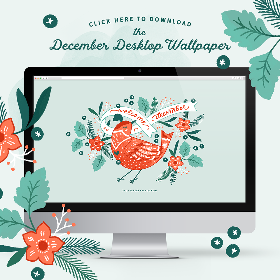 Paper Raven Co. December Illustrated Desktop Wallpaper