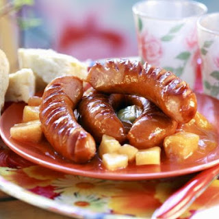 Sausages with Apricot and Pineapple Chunks.