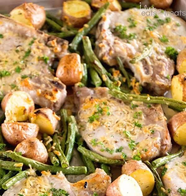 One-pan Parmesan Pork And Vegetables By ·julieseatsandtreats.com