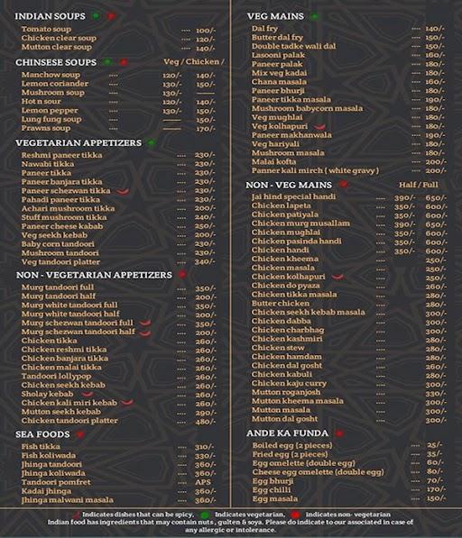 Jai Hind Parcel Kitchen menu 2