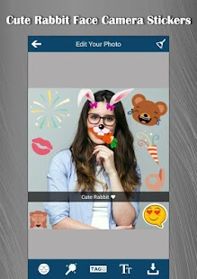 Cute Rabbit Face Camera Stickers - náhled