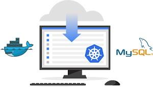 Illustrazione di un computer che mostra la preinstallazione di MySQL, Kubernetes e Docker