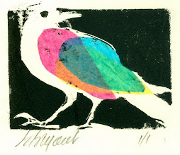 Photo: Wing Bird Block print with chine colle