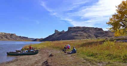 Photo: Lunch after climb to the Hole (in background)