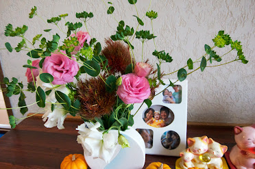 玄関を飾るお花
