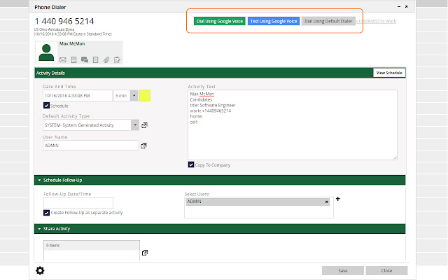 PCRecruiter Google Voice Plugin