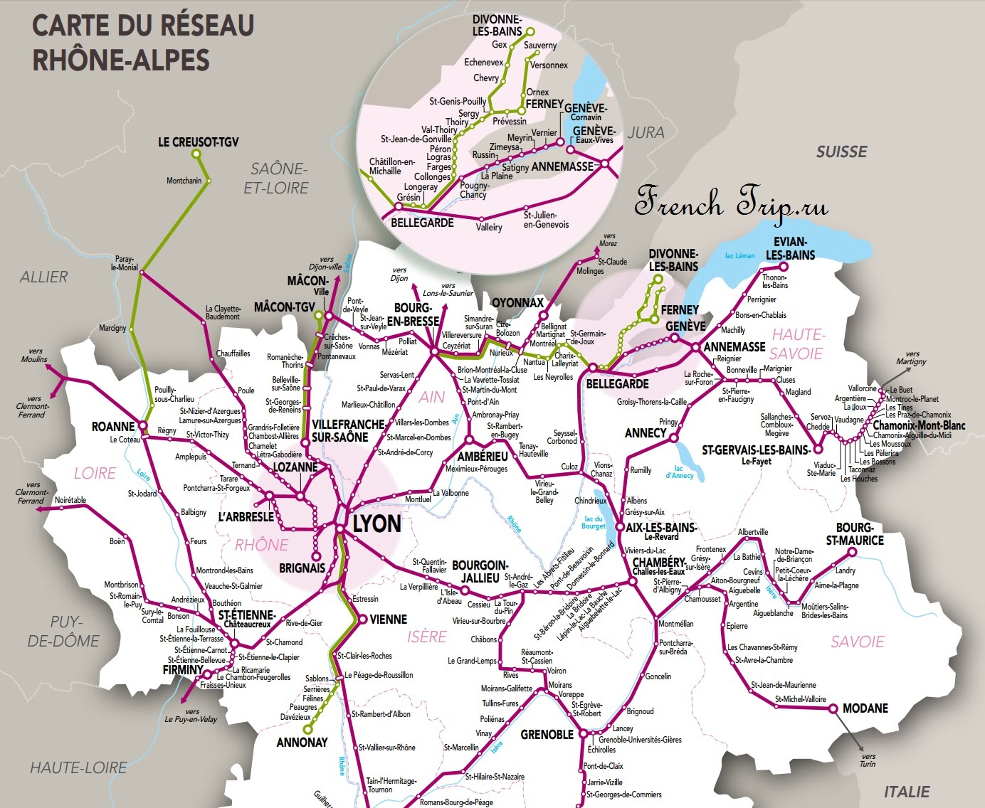 Схема маршрутов региональных поездов из Лиона - Расписание поездов в Лион: вокзалы LYON-PERRACHE и LYON-PART-DIEU. Все поезда в Лион - как доехать в Лион на поезде, схема маршрутов поездов из Лиона