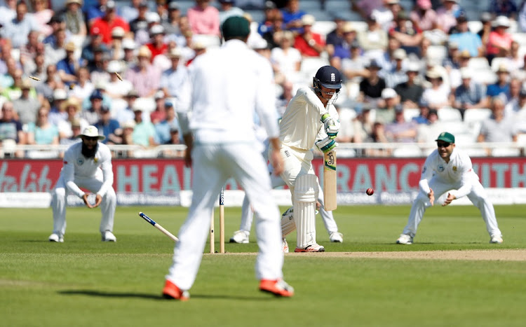 England's Keaton Jennings is bowled by South Africa's Vernon Philander.