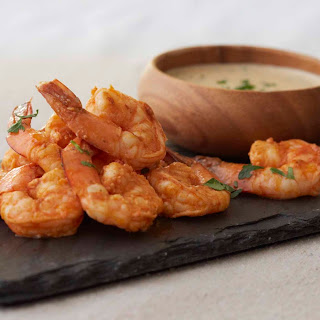 Buffalo Grilled Shrimp with Goat Cheese Dipping Sauce.