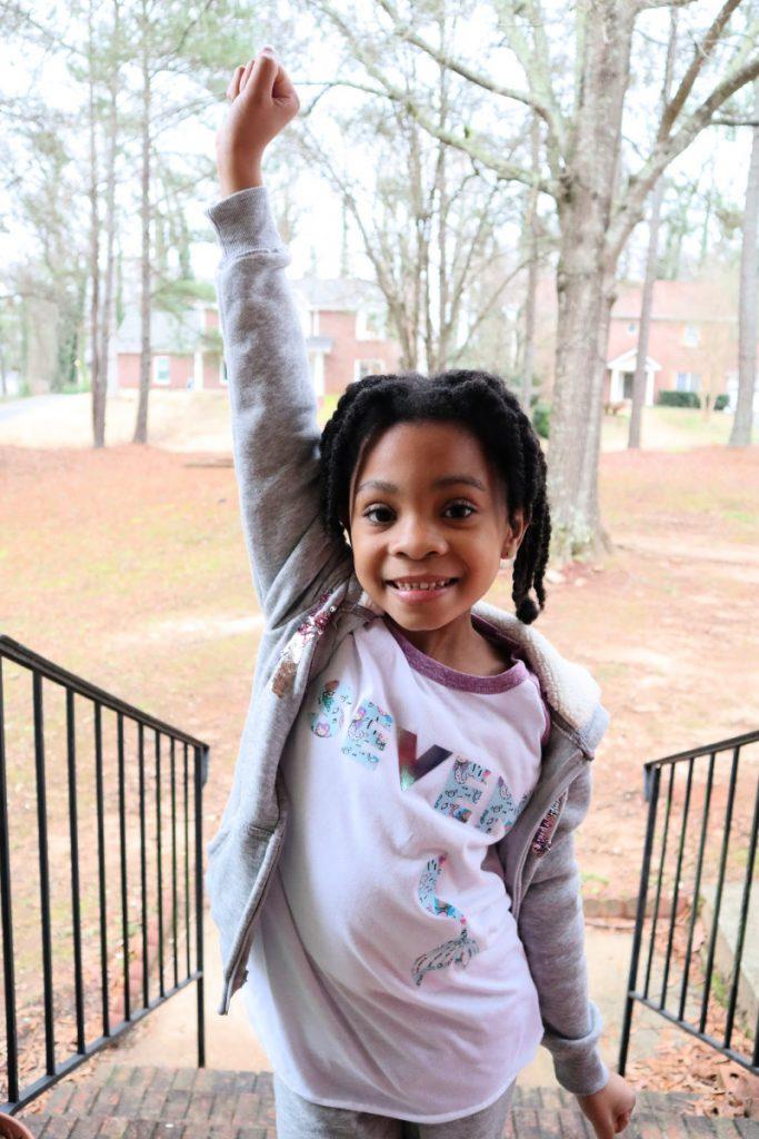 The seven year old loves her custom DIY birthday shirt