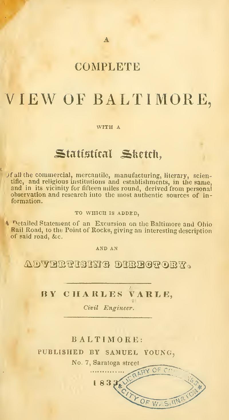 thomas poppleton s baltimore 1812 1837 1814 a plea for better