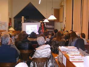 Photo: Àngel Guimerà a la Biblioteca d'Alguaire, a càrrec de Neus Oliveres