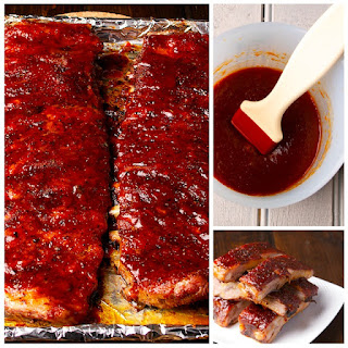 St. Louis Ribs with Maple BBQ Sauce.