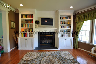 Photo: (After) Oyler'sFamily room Mantle, Over-Mantle, Bookcases, Crown Molding, Doorway Trimwork Schwenksville, PA