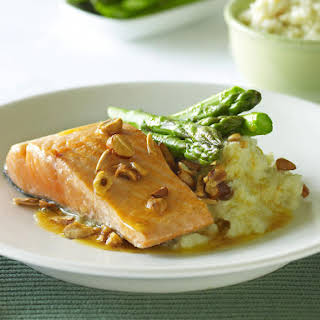 Pan-fried Salmon with Mashed Cauliflower and Asparagus.