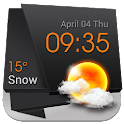 3D Clock Weather Solid Black icon