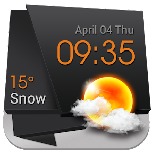 Download 3D Clock Weather Solid Black
