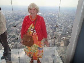 Photo: Gail braves a walk on The Ledge of the Skydeck