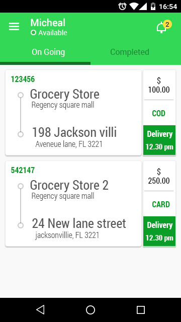 Driver App - Grocery N Cart- screenshot