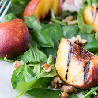 Grilled Peach & Walnut Salad with Honey Mustard Vinaigrette