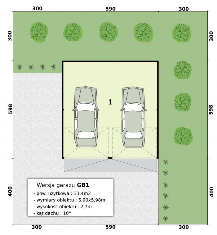 Projekt Garażu Gb1 Garaż Blaszany Tri 618 334m²
