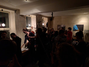 Photo: The last remaining session on Friday night. Not really much room to dance though, just lots of fiddles.