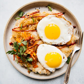 Pan-Fried Rice Noodles with Fried Eggs.
